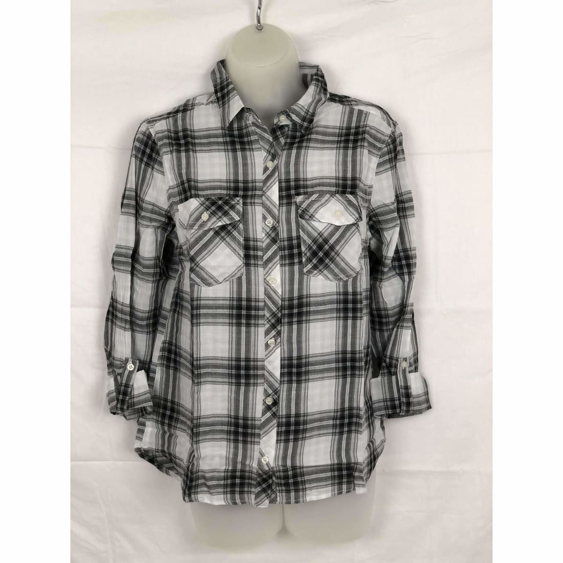 Michael Farrell Womens Button Front Roll Tab Lightweight Plaid S Tops & Blouses