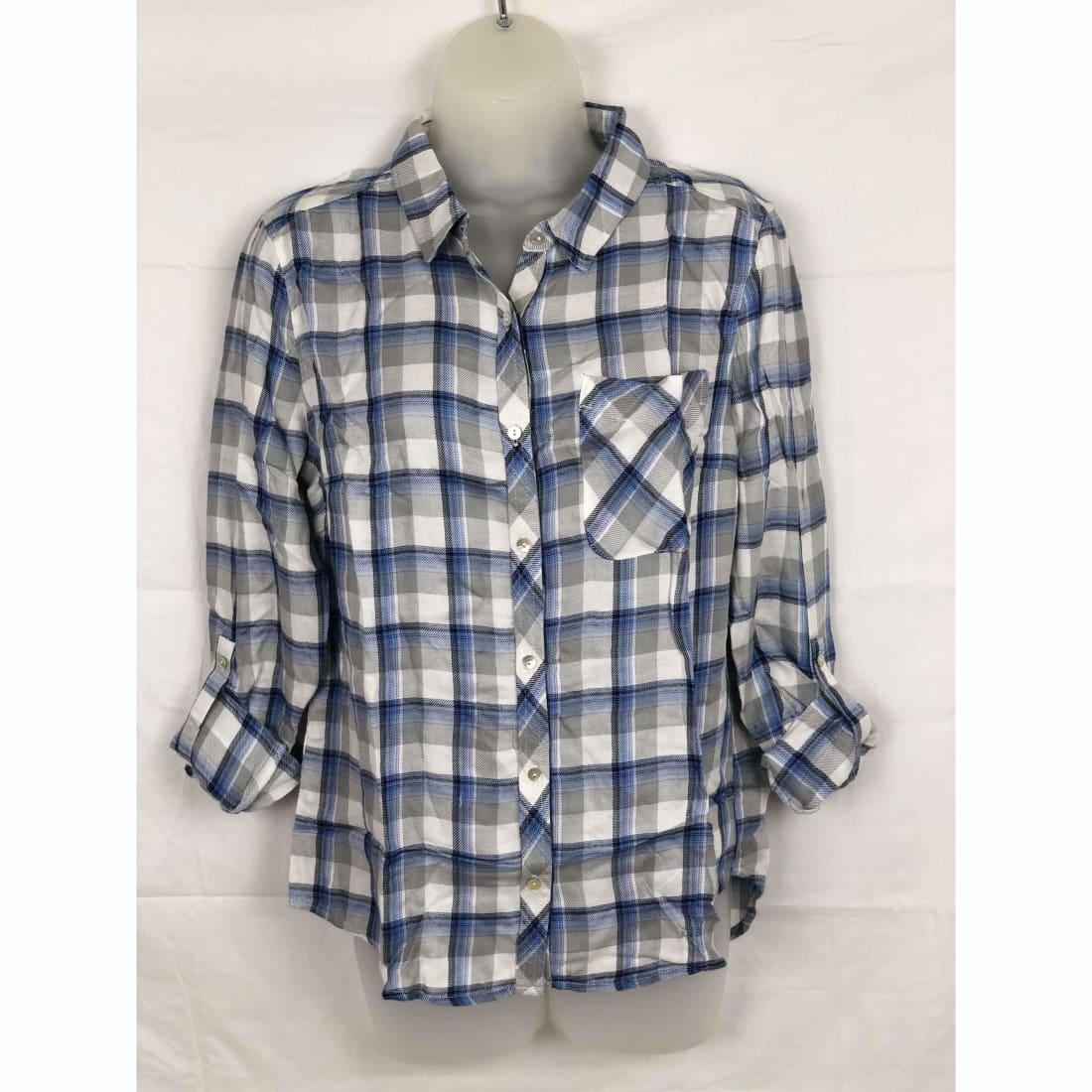 Michael Farrell Womens Button Front Roll Tab Plaid Shirt Variety S / Chambray Blue Tops & Blouses