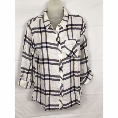 Michael Farrell Womens Button Front Roll Tab Plaid Shirt Variety S / Navy/white Tops & Blouses