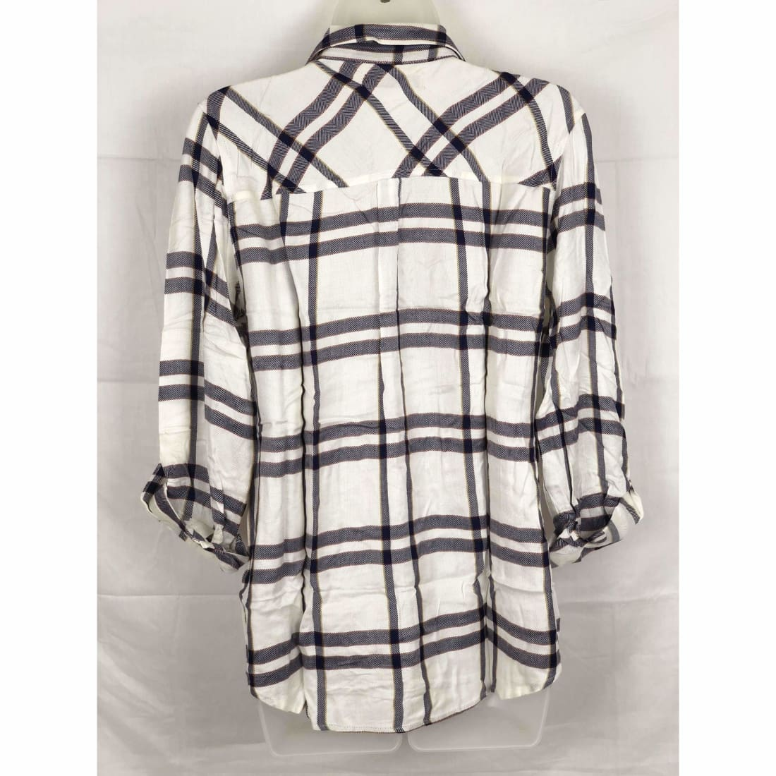 Michael Farrell Womens Button Front Roll Tab Plaid Shirt Variety Tops & Blouses