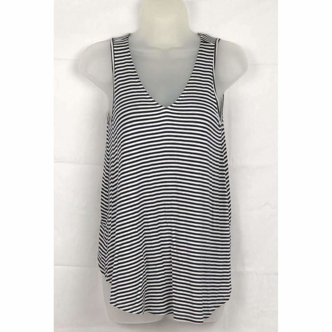 Michael Farrell Womens Lattice Back Hi-Low Hem Tank S / Navy/white Tops & Blouses