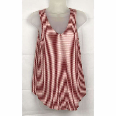 Michael Farrell Womens Lattice Back Hi-Low Hem Tank S / Red/white Tops & Blouses