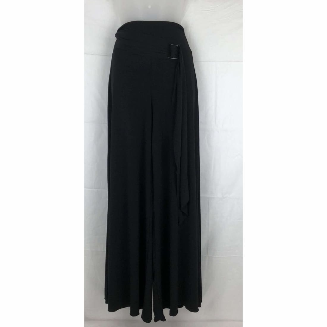Modern Touch Womens Sash Waist Wide Leg Palazzo Pants S / Black Pants & Shorts