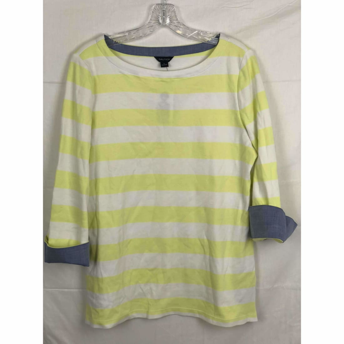 Nautica Womens Chambray 3/4 Sleeve Top L / Pale Lime Tops & Blouses