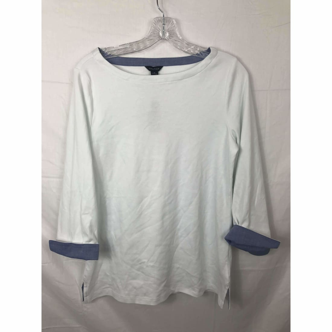 Nautica Womens Chambray 3/4 Sleeve Top M / Bright White Tops & Blouses