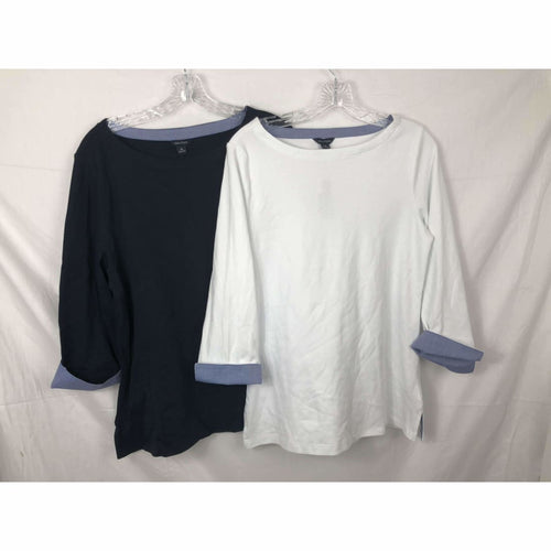 Nautica Womens Chambray 3/4 Sleeve Top Tops & Blouses