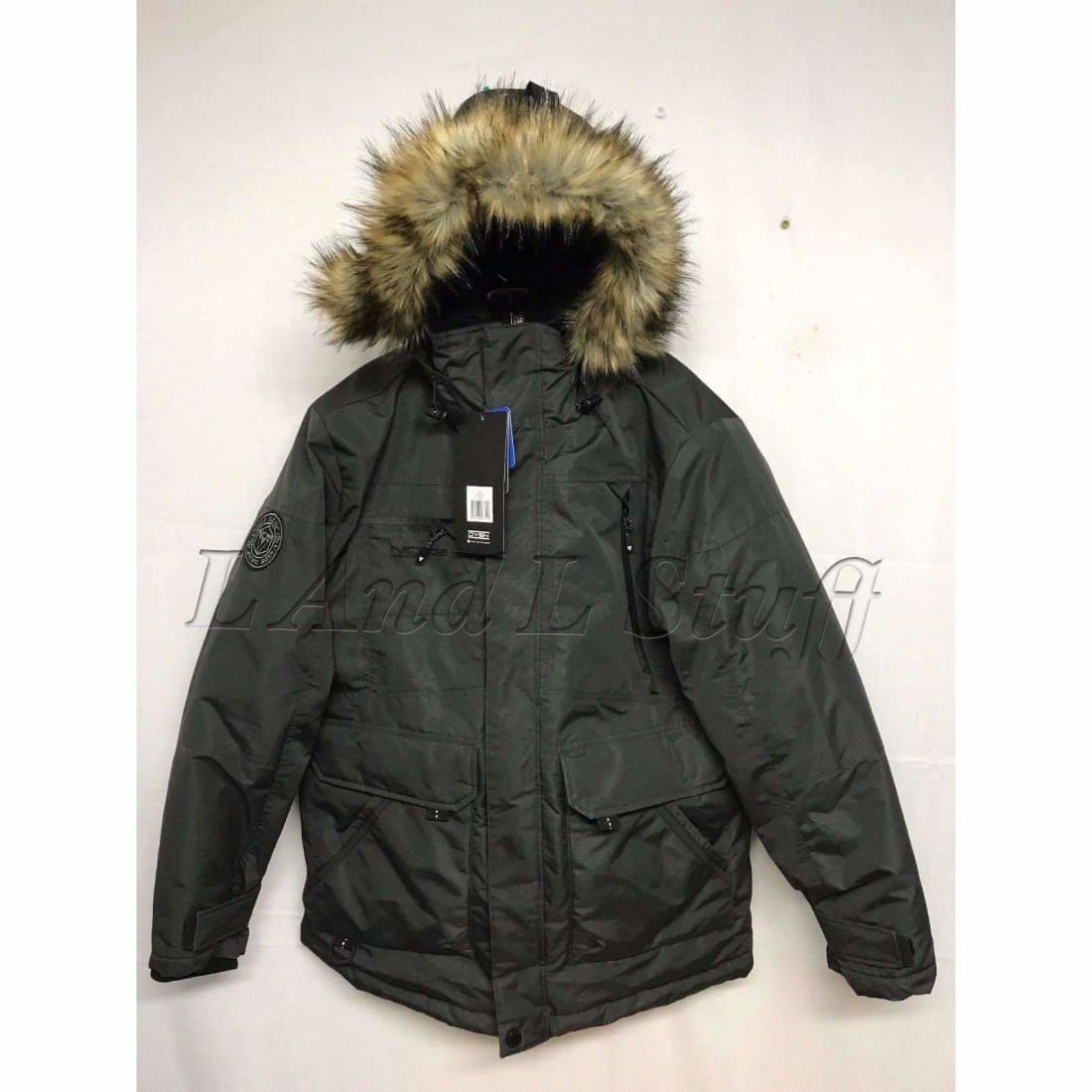 Noize Mens Mid Length Faux Fur Parka Body 15Ct Size Large L / Slate Coats & Jackets