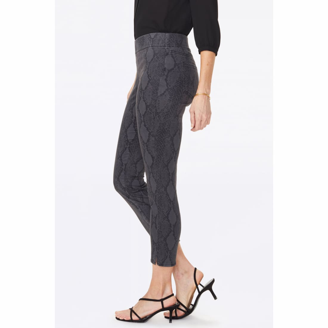Nydj Womens Skinny Ankle Pull-On Jeans With Slit Diamond Back Print Jeans