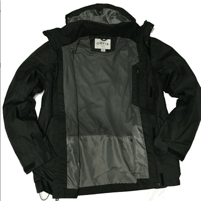 Orvis Mens Wahoo Hooded Rain Jacket M-Black Coats & Jackets