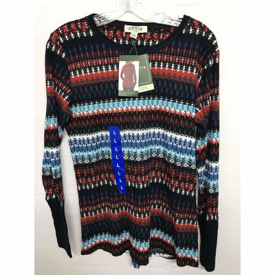 Orvis Womens Long Sleeve Thermal Waffle Shirt L / Navy Aztec Athletic Apparel
