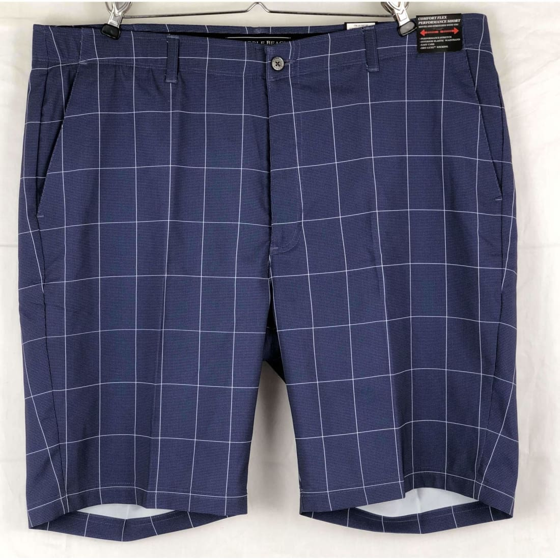 Pebble Beach Mens Dry-Luxe Performance Comfort Waist Short 40 / Classic Fit / Navy Plaid Shorts