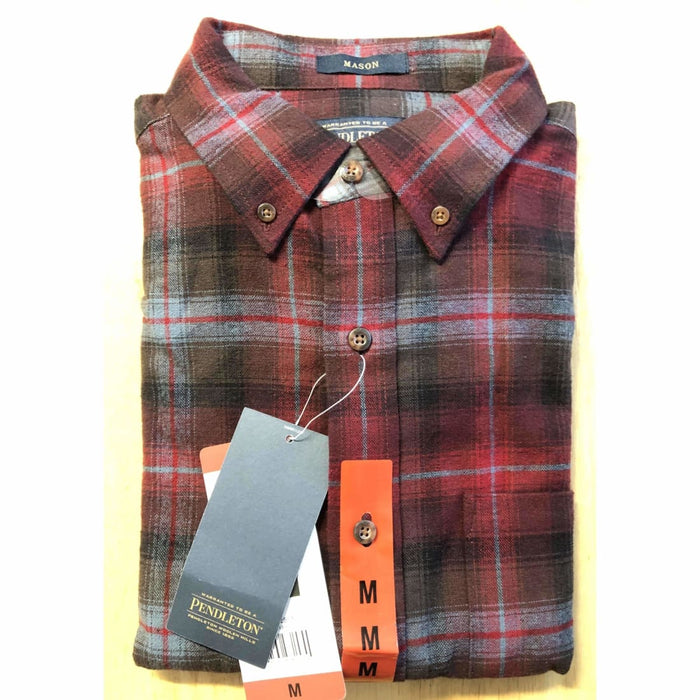 Pendleton Mens Cotton Flannel Mason Shirt M / Red/gray Plaid Casual Shirts