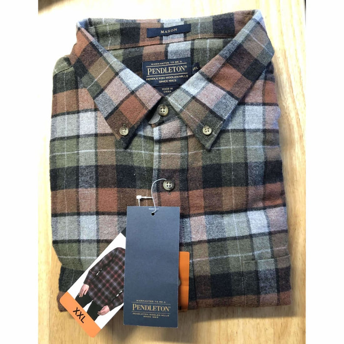 Pendleton Mens Cotton Flannel Mason Shirt Xxl / Gray Moss Plaid Casual Shirts