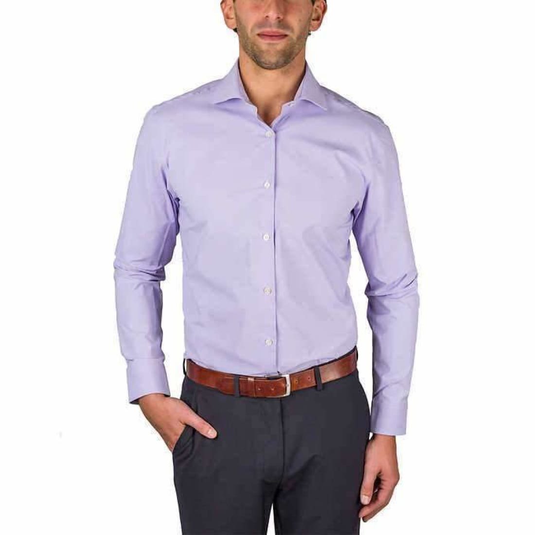 Perry Ellis Mens Dress Shirt 16 1/2-34/35 Regular / Purple Dress Shirts