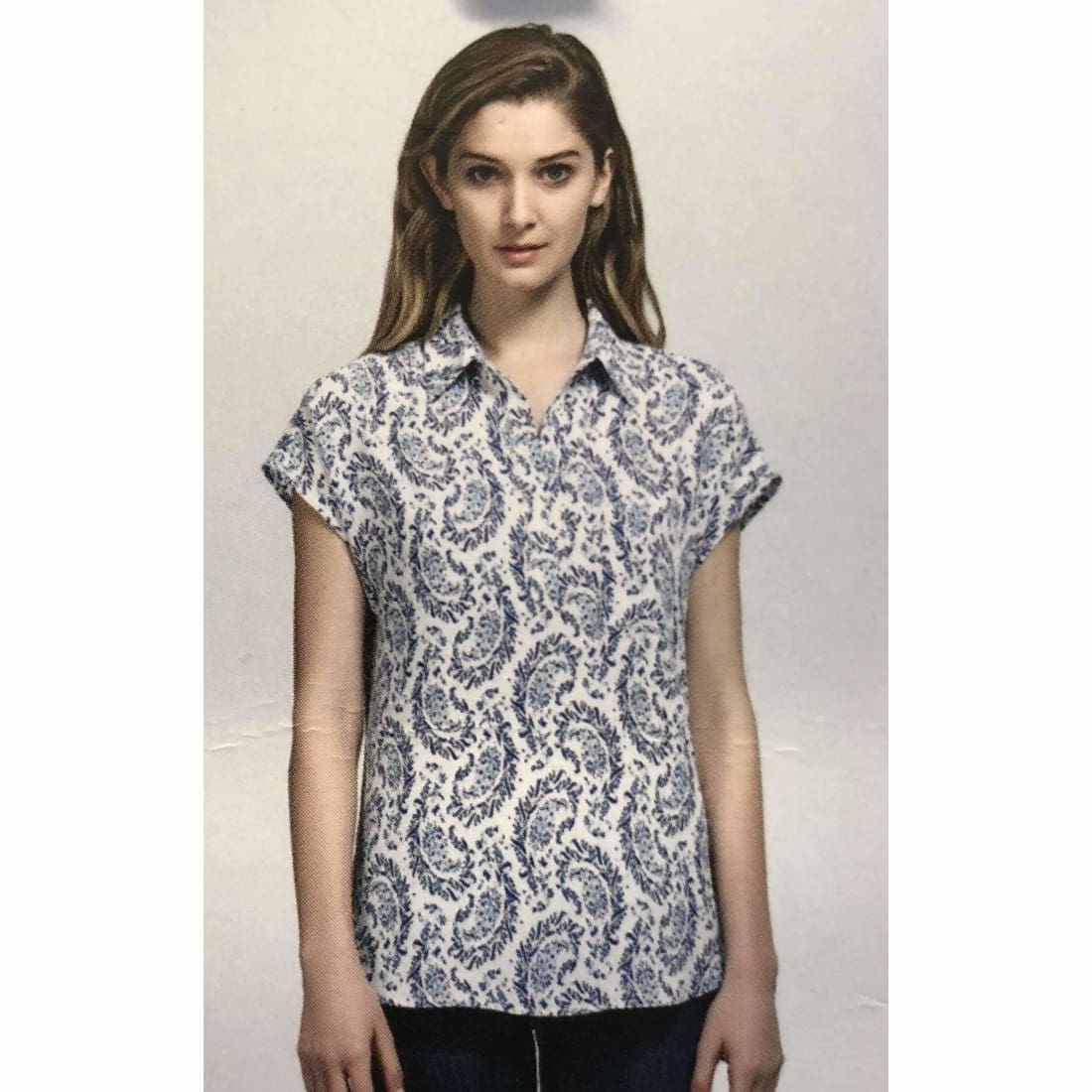 Pleione Womens Short Sleeve V-Neck Blouse Blue Paisley Tops & Blouses