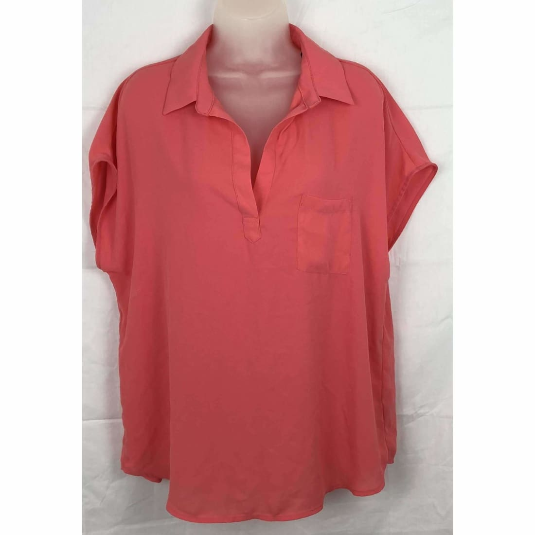 Pleione Womens Short Sleeve V-Neck Blouse Lt Coral Tops & Blouses