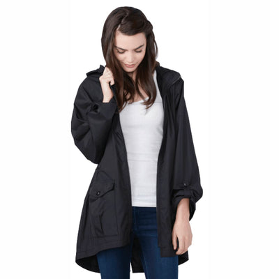 Shedrain Womens Hi-Lo Packable Rain Jacket S / Black Outerwear