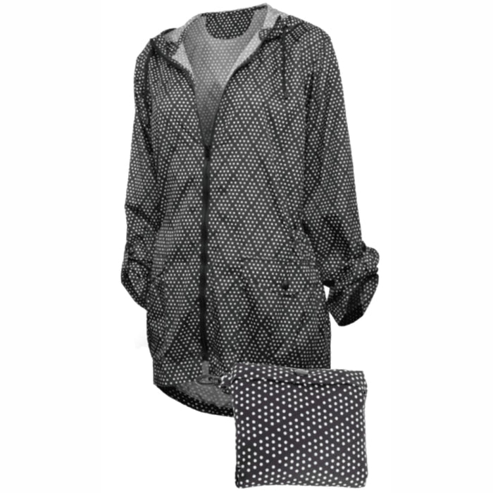 Shedrain Womens Hi-Lo Packable Rain Jacket S / Diamond Dot Outerwear
