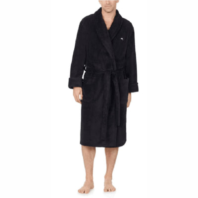 Tommy Bahama Mens Plush Fleece Robe S/m / Black Sleepwear & Robes