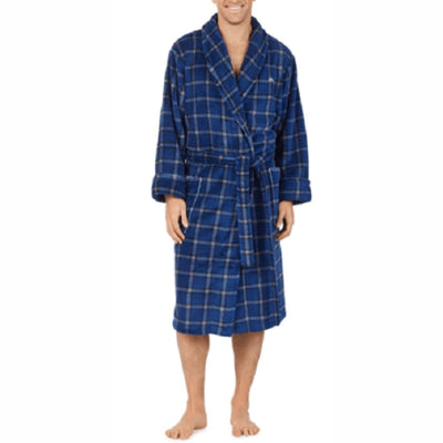 Tommy Bahama Mens Plush Fleece Robe S/m / Navy Plaid Sleepwear & Robes