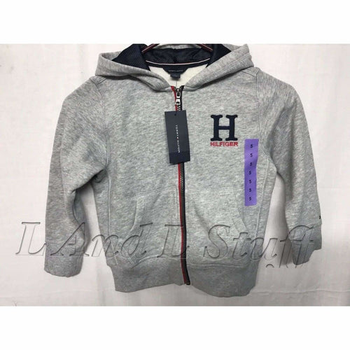 Tommy Hilfiger Boys Full Zip Fleece Lined Hoodie Jacket 5 / Grey Sweatshirts & Hoodies