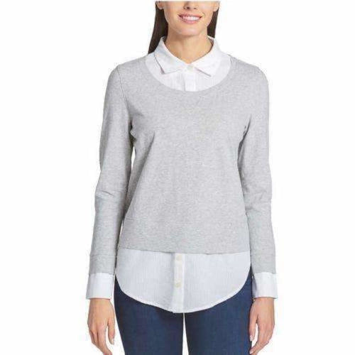 Tommy Hilfiger Ladies 2-Fer Blouse S / Gray Tops & Blouses