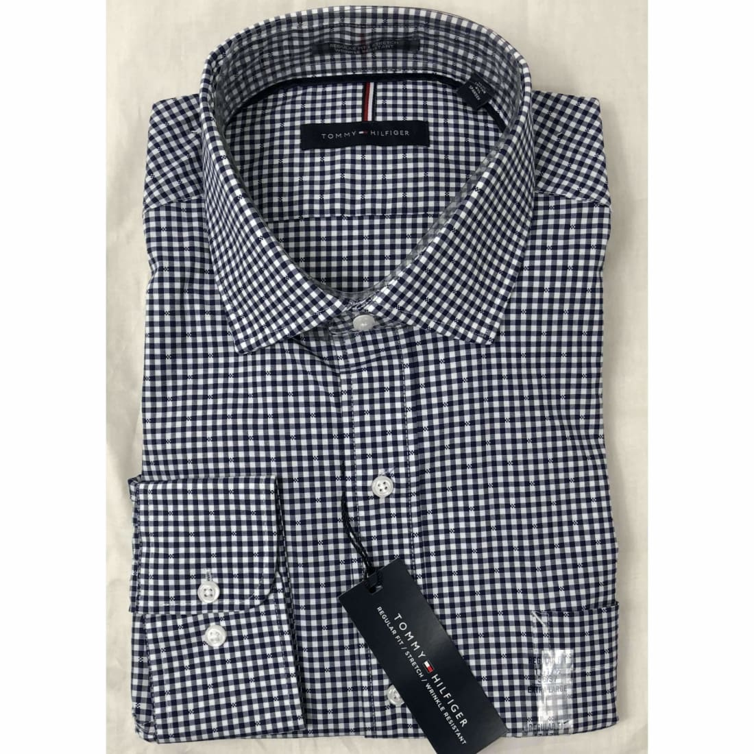Tommy Hilfiger Regular Fit Button Front Dress Shirt Xl / Blue /white Check / 36-37 Dress Shirts