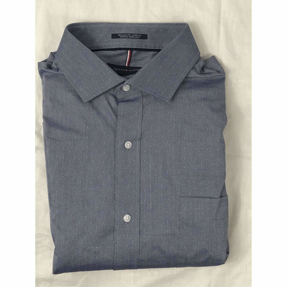 Tommy Hilfiger Regular Fit Button Front Dress Shirt Xl / Indigo / 34-35 Dress Shirts