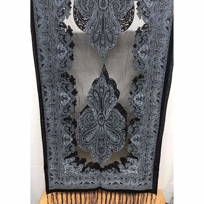 Translucent Vintage Design Burnout Scarf 60 X 18 B-Black Scarves & Wraps