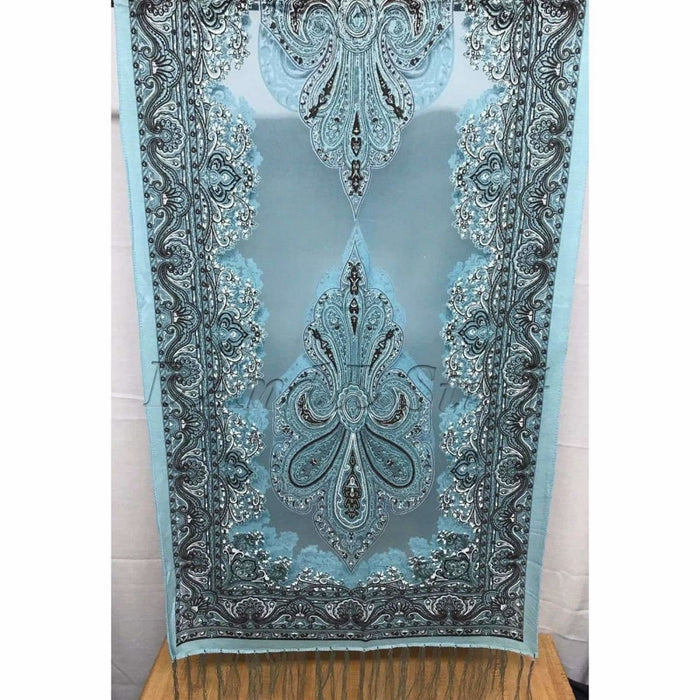 Translucent Vintage Design Burnout Scarf 60 X 18 Light Blue Scarves & Wraps