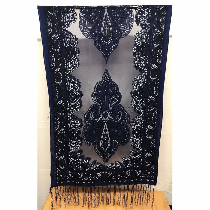 Translucent Vintage Design Burnout Scarf 60 X 18 Navy Scarves & Wraps