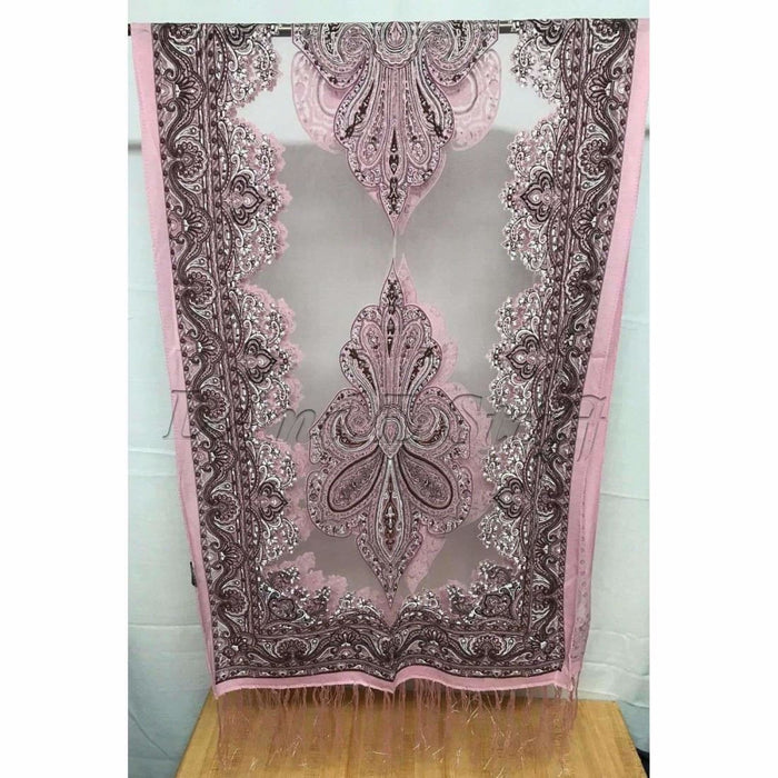 Translucent Vintage Design Burnout Scarf 60 X 18 Pink Scarves & Wraps