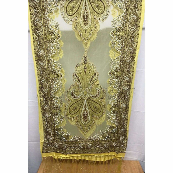 Translucent Vintage Design Burnout Scarf 60 X 18 Yellow Scarves & Wraps