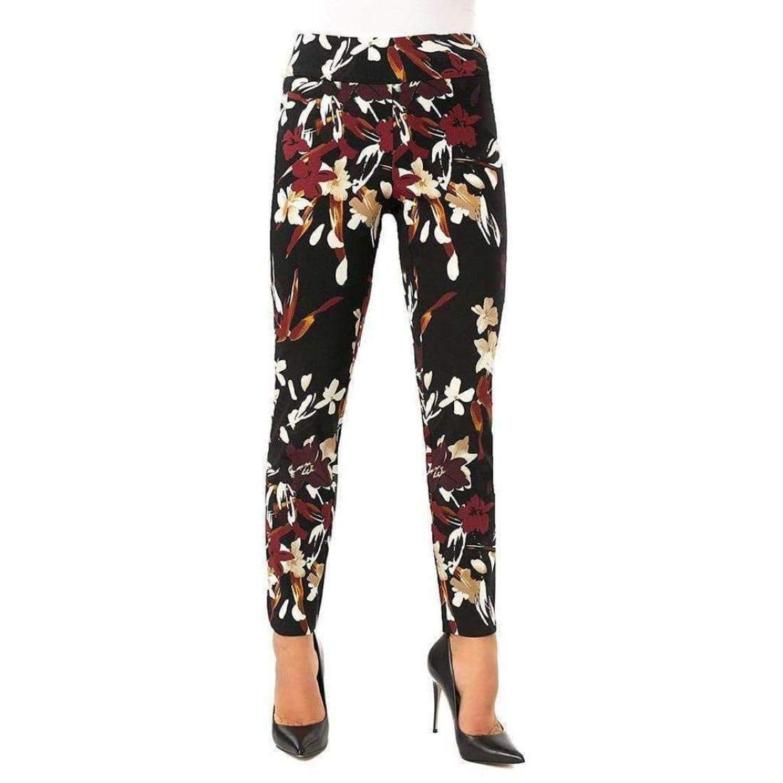 Up! Womens Petal Slit Ankle Pants Flatten And Flatter Style 66569 Techno Flora 8 Pants
