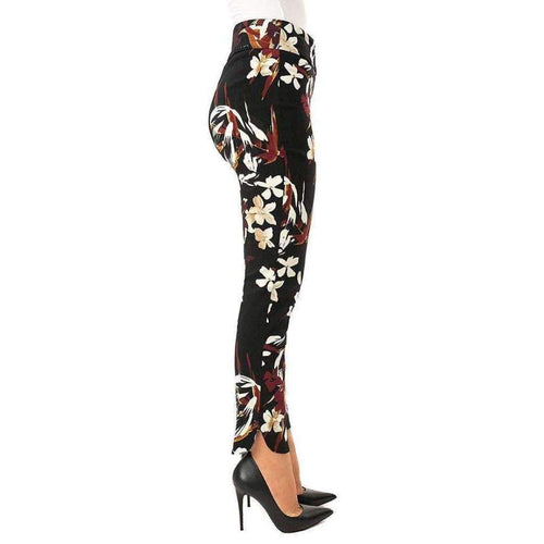 Up! Womens Petal Slit Ankle Pants Flatten And Flatter Style 66569 Techno Flora Pants