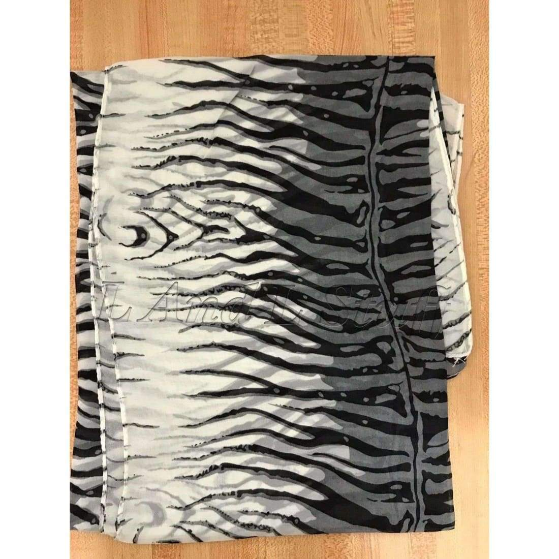 Womens Lightweight Tiger Print Sheer Scarf (Assorted Colors) Black/white Scarves & Wraps
