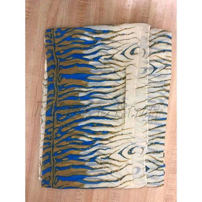 Womens Lightweight Tiger Print Sheer Scarf (Assorted Colors) Blue/cream Scarves & Wraps