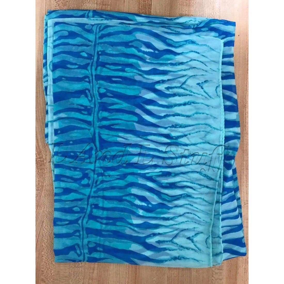 Womens Lightweight Tiger Print Sheer Scarf (Assorted Colors) Blue/blue Scarves & Wraps
