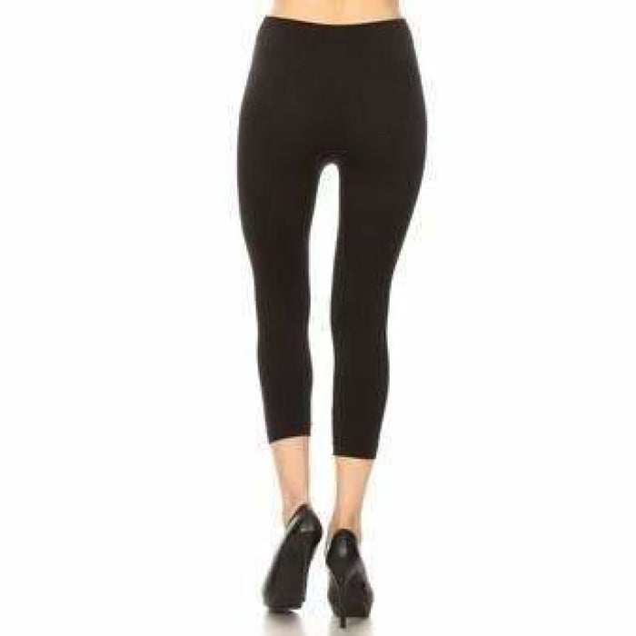 Yelete Ladies Black Ripped Skinny Capri Leggings Leggings