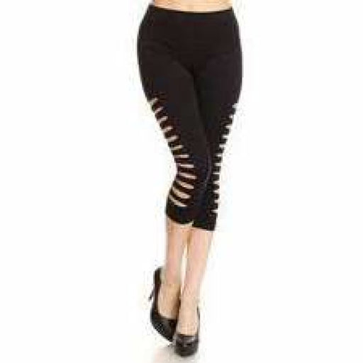 Yelete Ladies Cut Out Side Detail Capri Leggings Leggings
