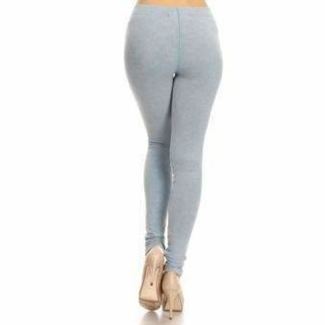 Yelete Ladies Distressed Denim Jean Leggings Leggings