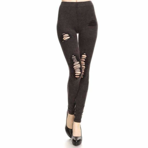 Yelete Ladies Distressed Denim Jean Leggings S/m / Black Leggings