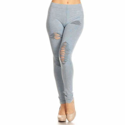Yelete Ladies Distressed Denim Jean Leggings S/m / Lt. Denim Leggings