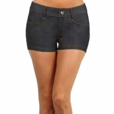 Yelete Womens Classic Jean Like Jegging Shorts S / Black Shorts