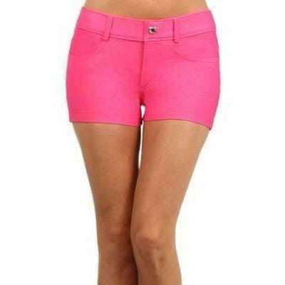 Yelete Womens Classic Jean Like Jegging Shorts S / Fuchsia Shorts