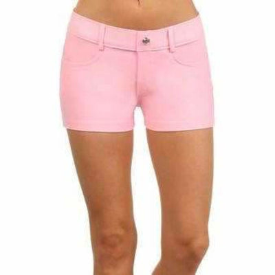 Yelete Womens Classic Jean Like Jegging Shorts S / Pink Shorts