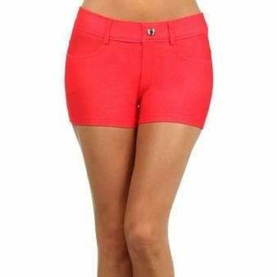 Yelete Womens Classic Jean Like Jegging Shorts S / Red Shorts