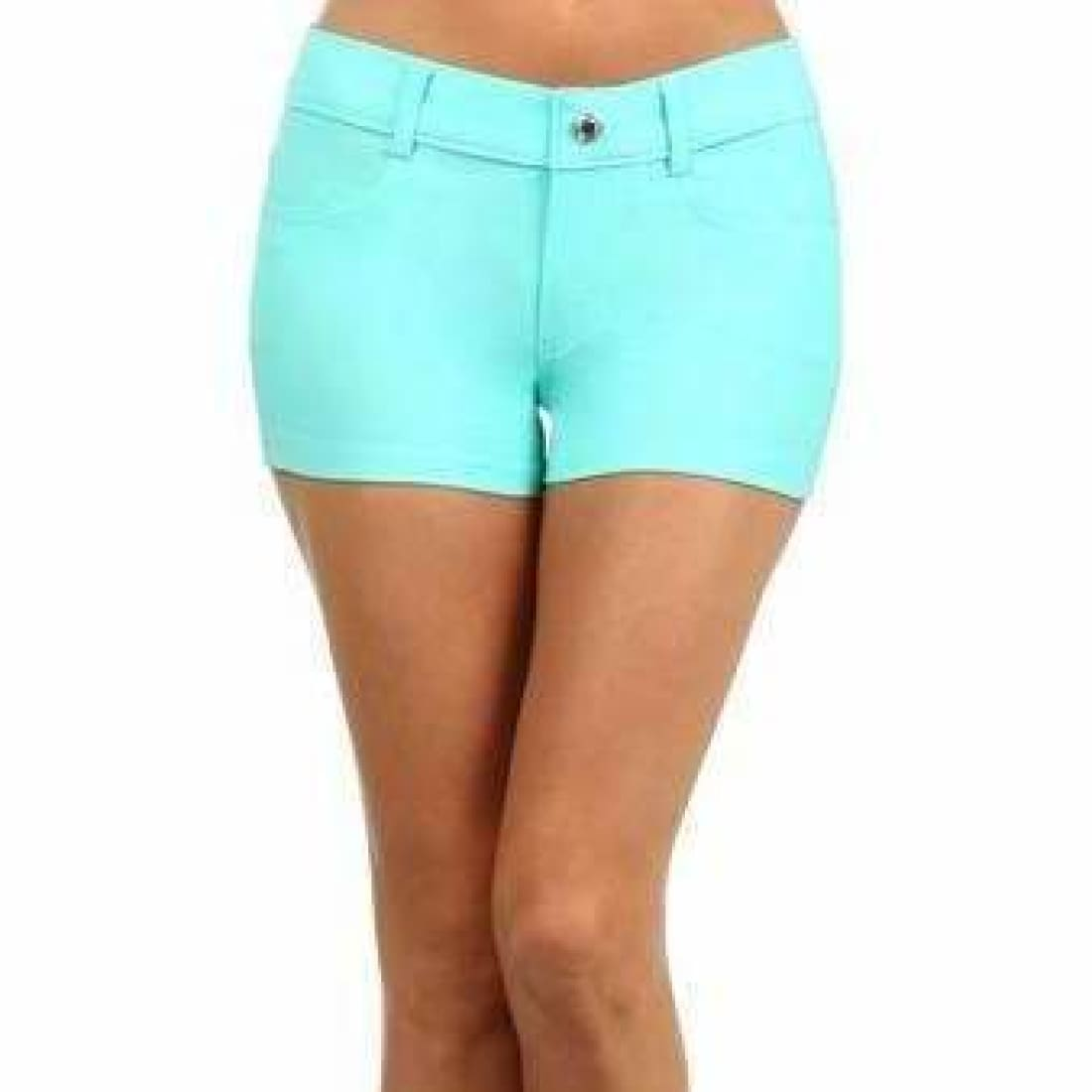 Yelete Womens Classic Jean Like Jegging Shorts S / Turquoise Shorts
