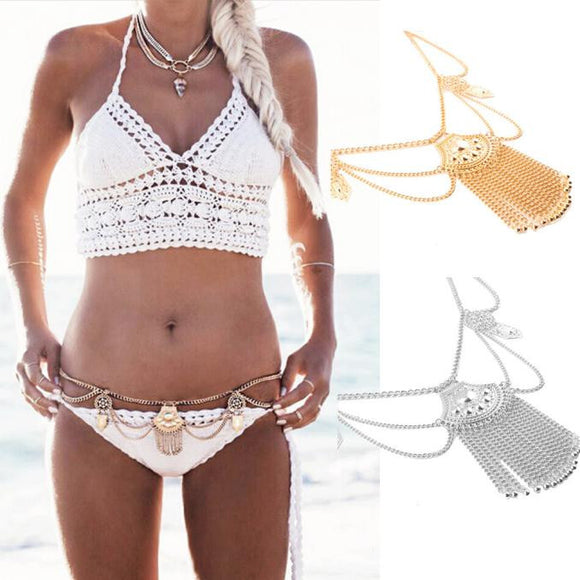 Sexy Women Link Body Belly Waist Necklace Chain Slave Harness GD