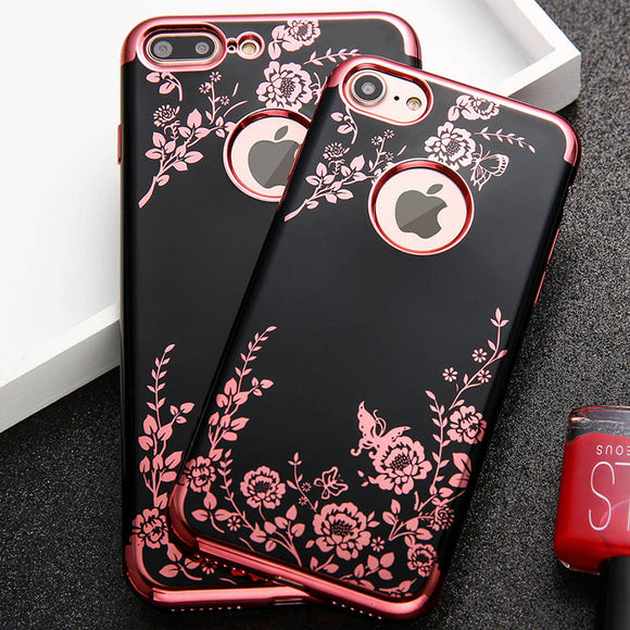 Luxury Plating Soft TPU Silicone Cover Elegant Lady Floral Butterfly iPhone Case